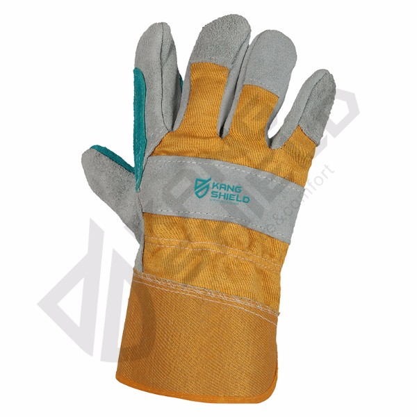 Wholesale Price Cow leather canvas gloves