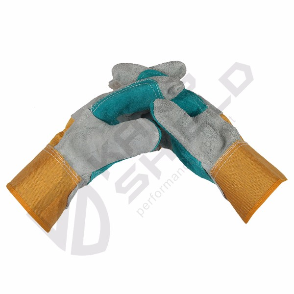 Cow leather canvas gloves
