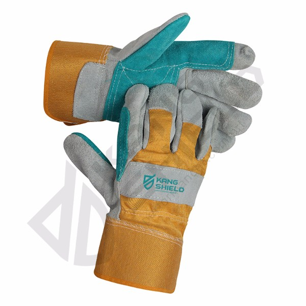 Comfortable Price Cow leather canvas gloves