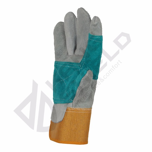 Fast Delivery Cow leather canvas gloves