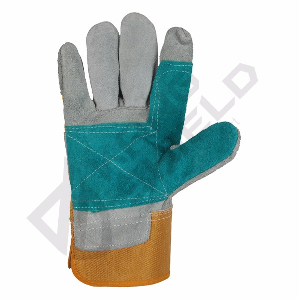 Cow leather canvas gloves Good Quality