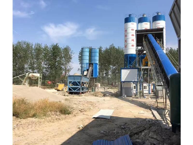 China hzs150 concrete mixing plant price