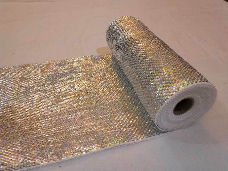 Deco mesh rolls with wide foil10 inch x 10yards