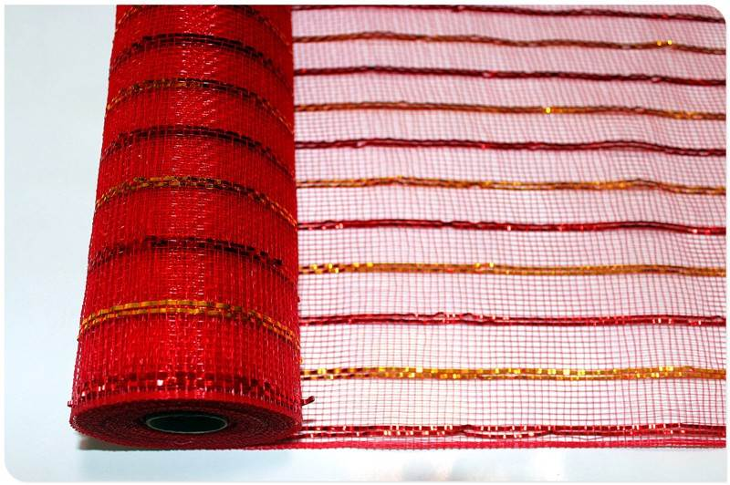 Red metallic mesh rolls and ribbons