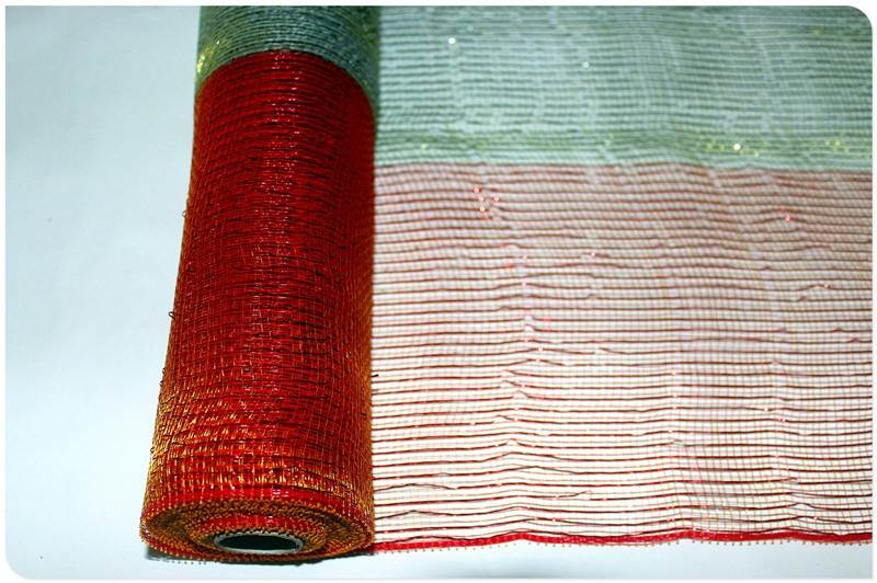 High Class Quality Red metallic mesh rolls and ribbons